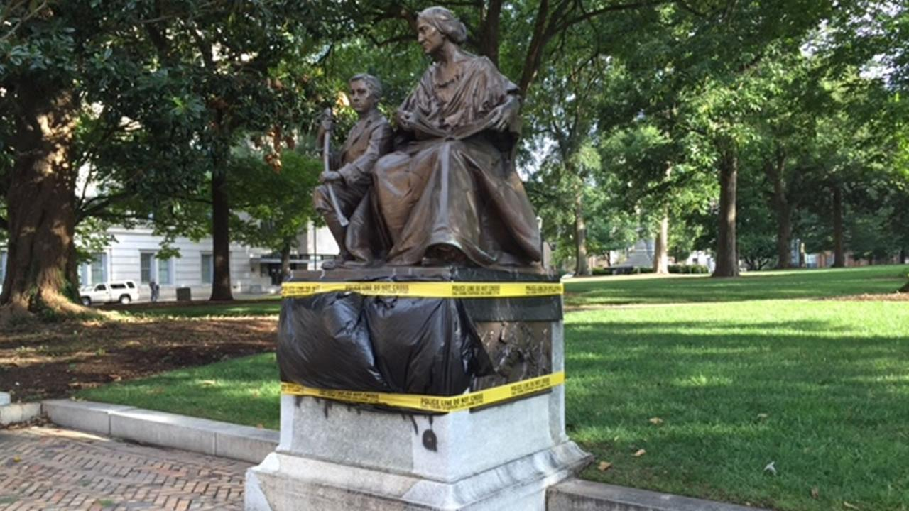 The Confederate monument that faces Morgan Street from Union Square at the State Capitol building was covered in black spray-paint.