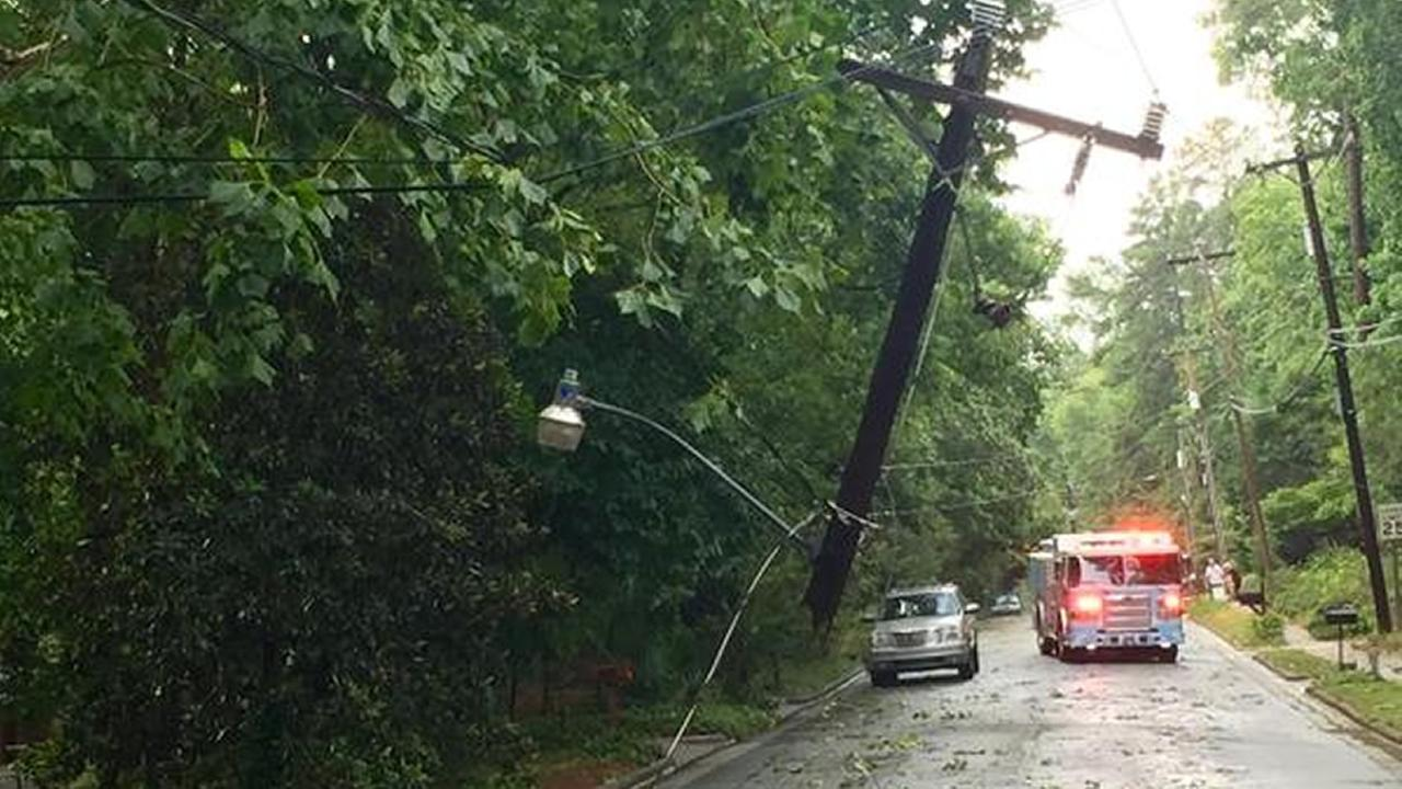Power pole damaged by storm on Lake Shore Drive in Chapel Hill.
