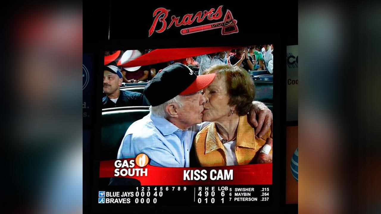 Kiss Cam catches Carter: Jimmy Carter Kiss Cam