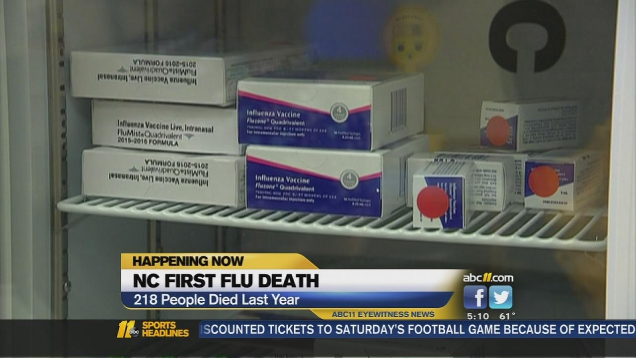 First flu death reported in NC