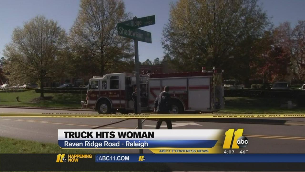 Woman hit by dump truck in Raleigh