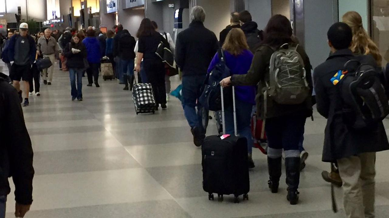 Travelers at Raleigh Durham International Airport