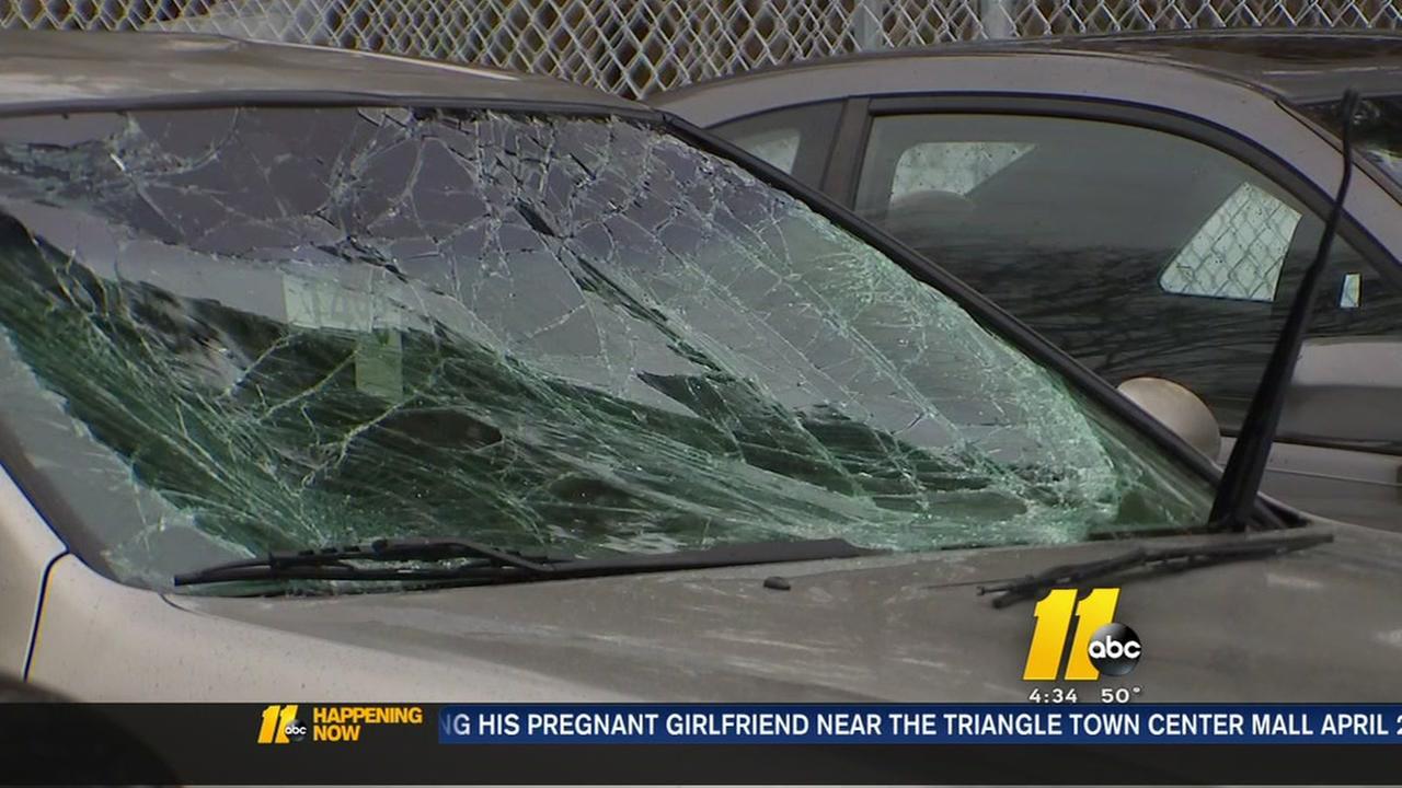 Ice falls on car