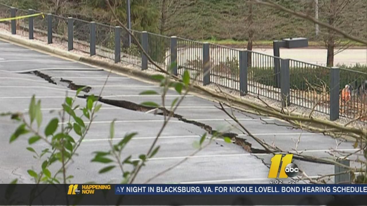 Large crack in Raleigh parking lot