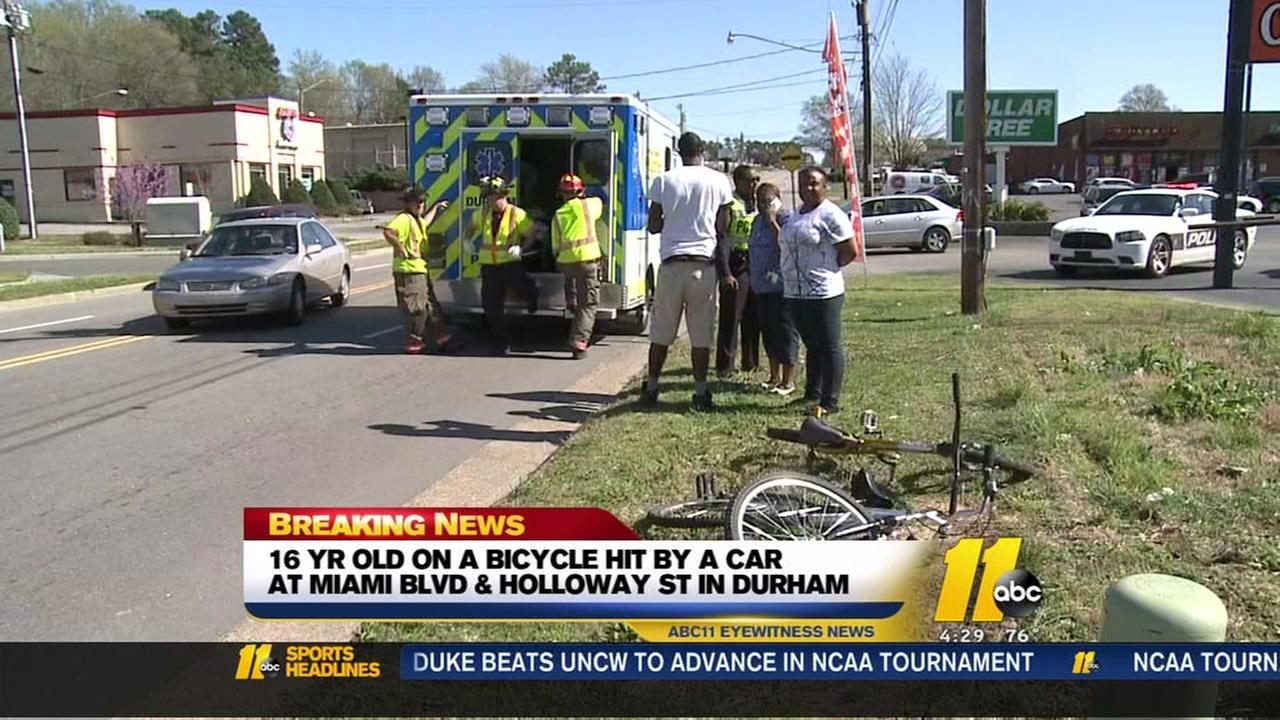 Teen on bicycle hit in Durham