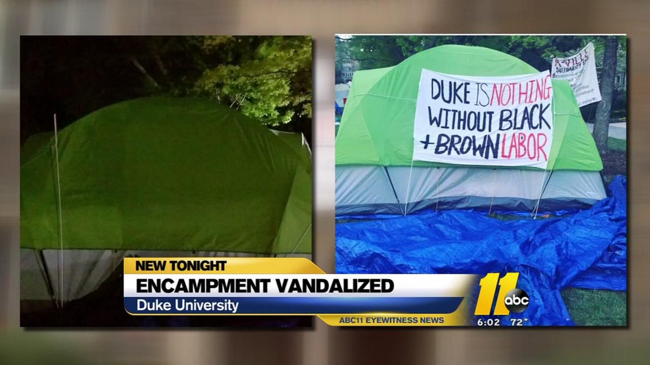 Duke protesters say banners stolen