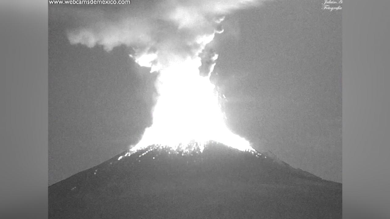 Mexican volcano spews ash on nearby towns