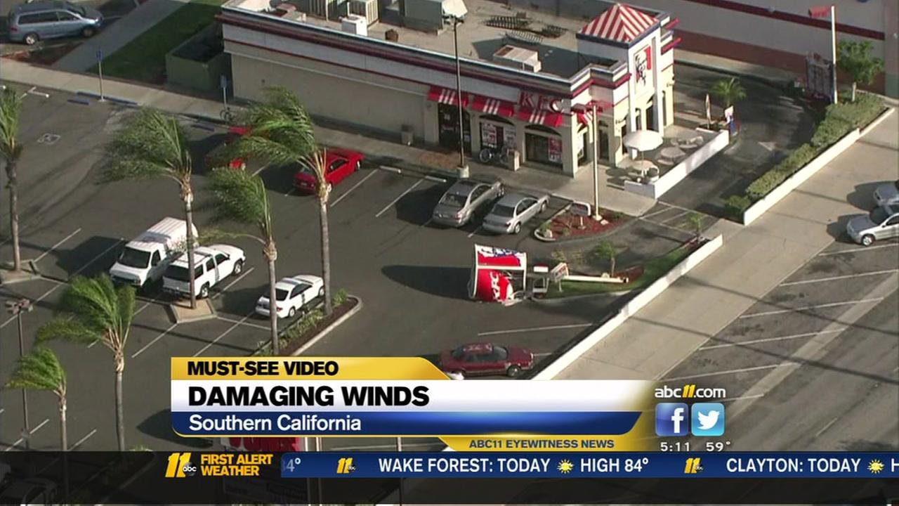 Damaging winds in Southern California