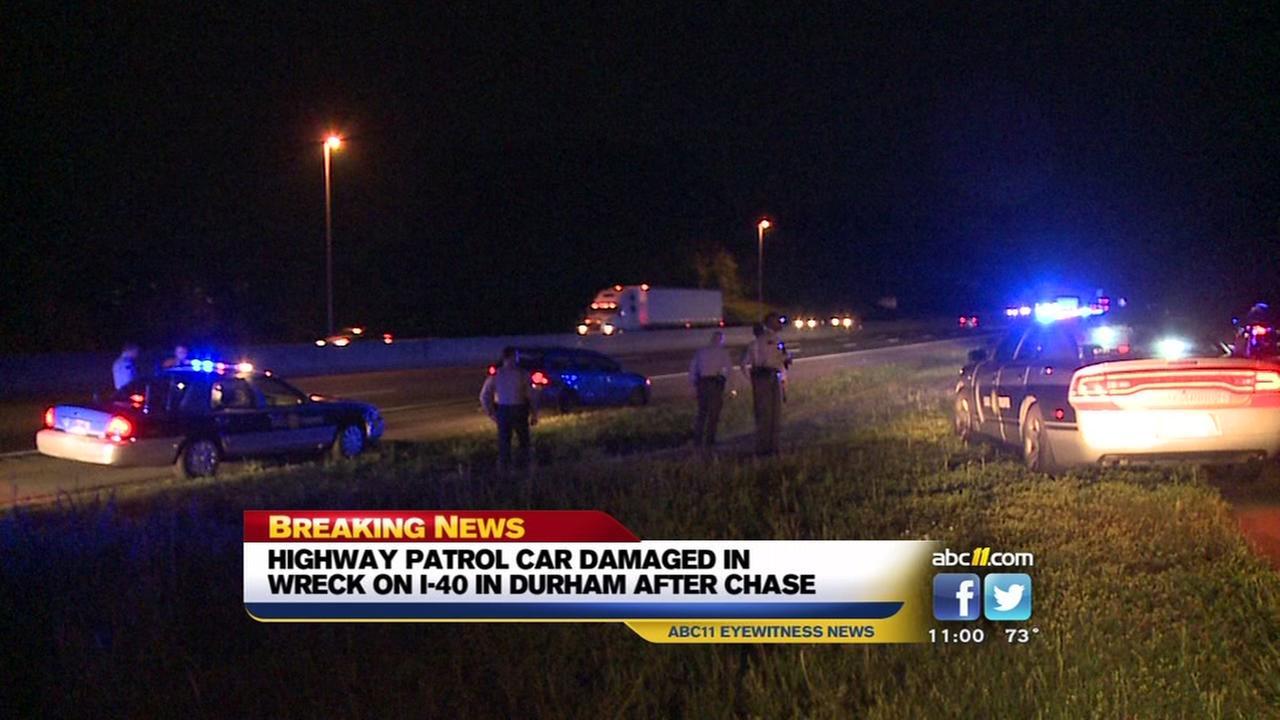 Patrol car damaged
