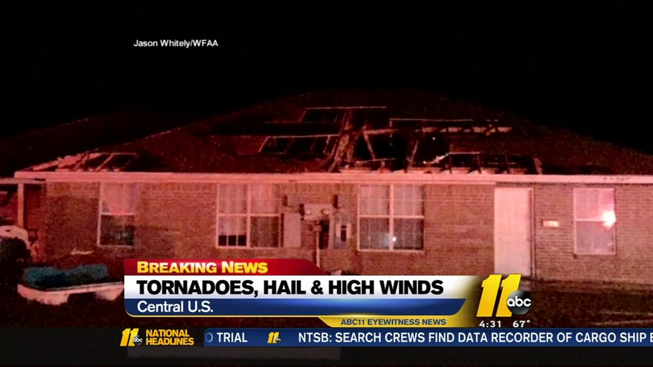 Tornadoes, hail, high winds in Central US