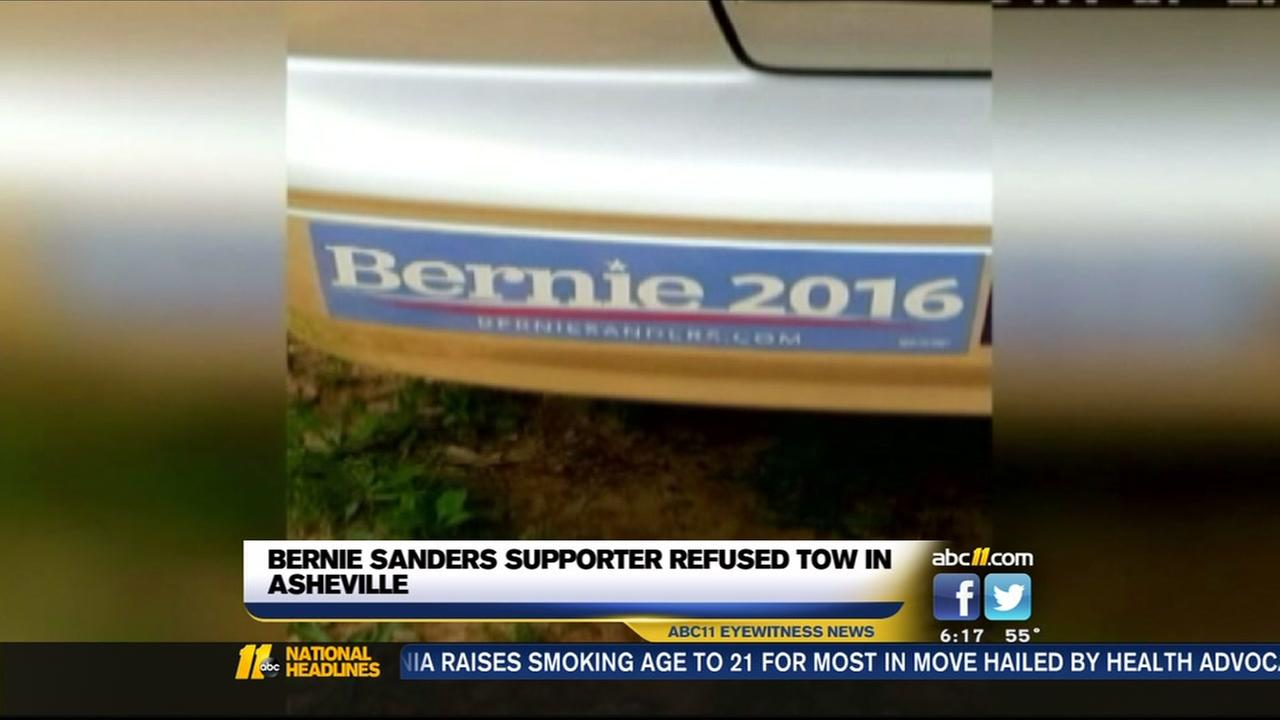 Tow truck driver refuses to tow Bernie Sanders supporter in Asheville