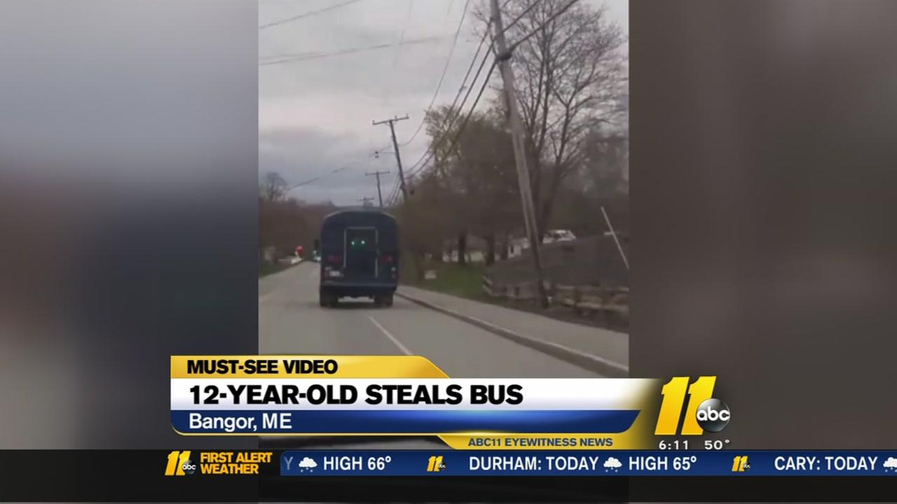 12-year-old boy steals school bus