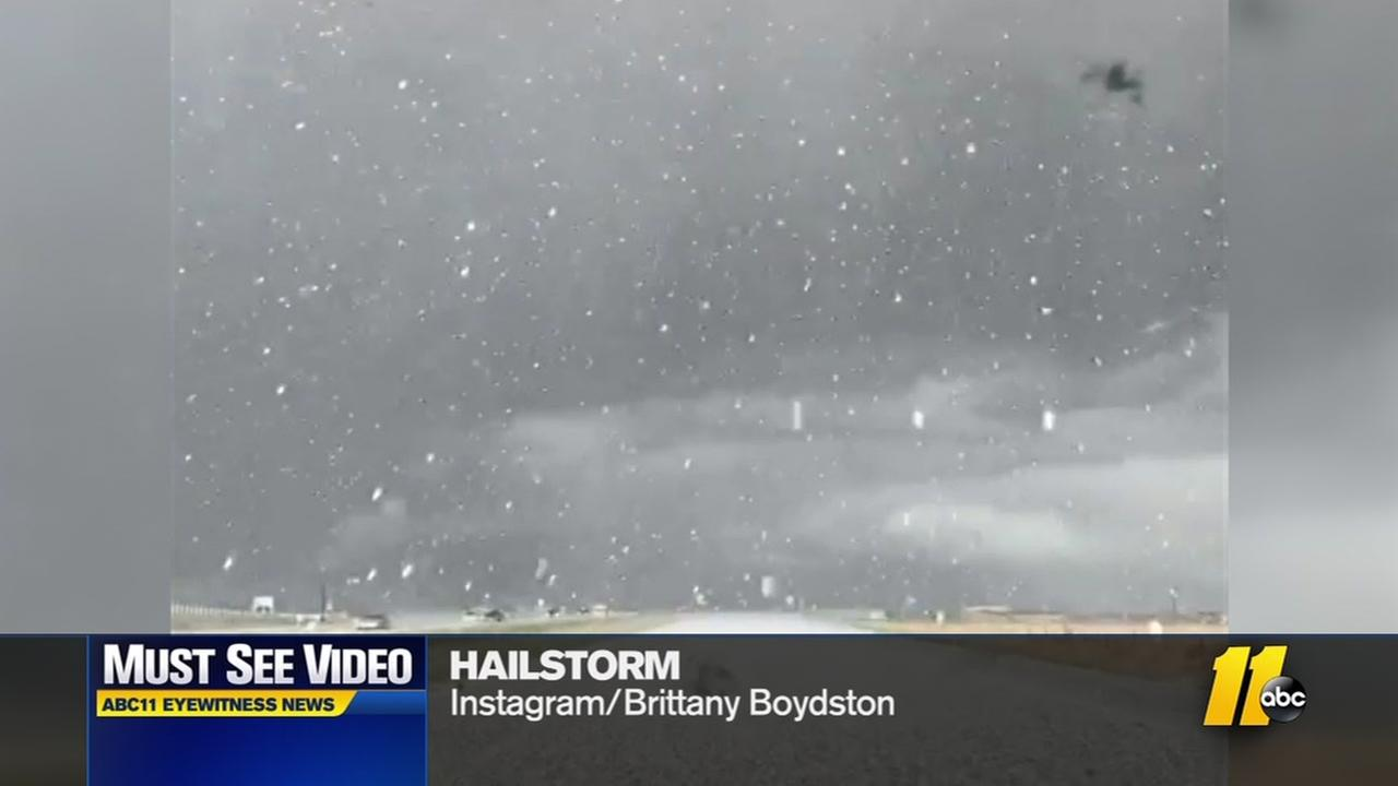 Epic hailstorm caught on camera