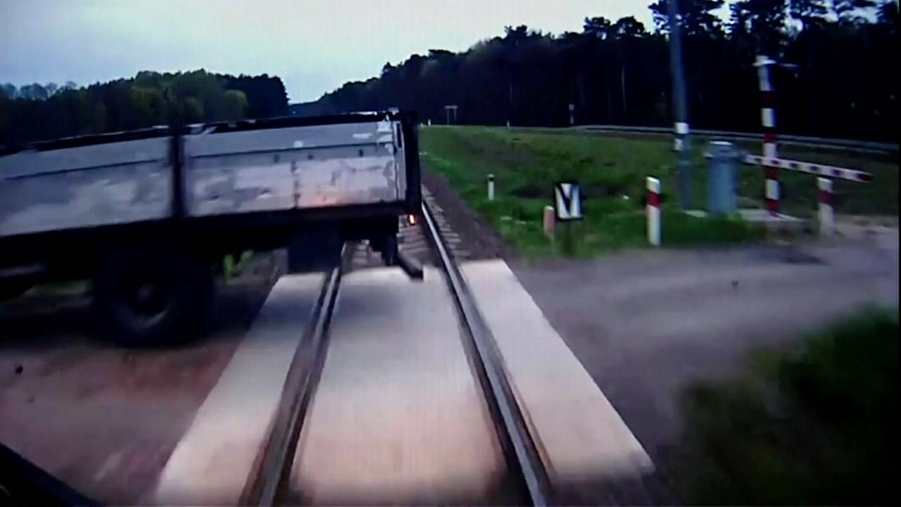 Watch as train hits truck on tracks