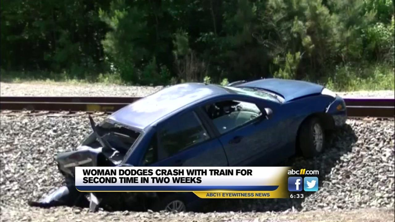 Car and train collide in Wake County