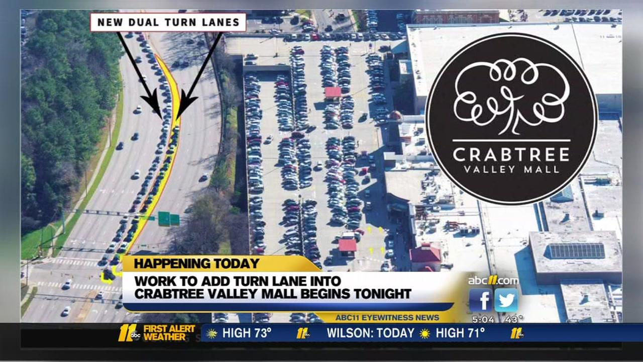 Turn lanes into Crabtree Valley Mall being added