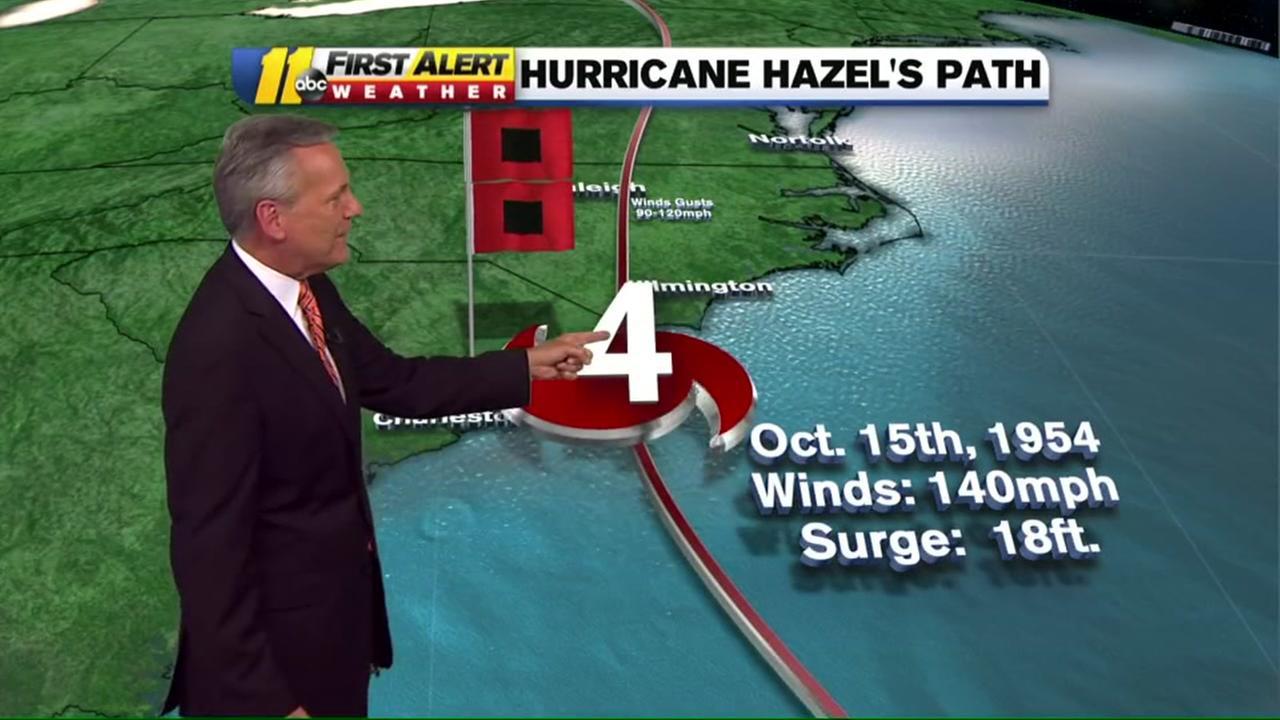 Hurricane Hazels path