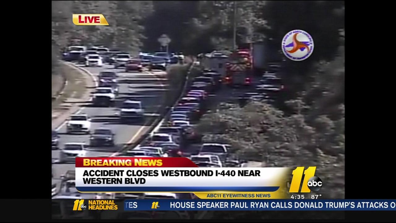 Accident closes westbound I-440 near Western Blvd