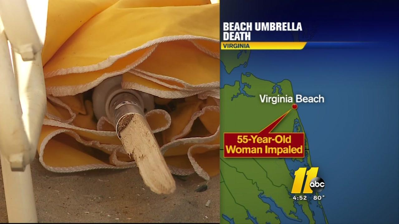 Beach umbrella kills woman