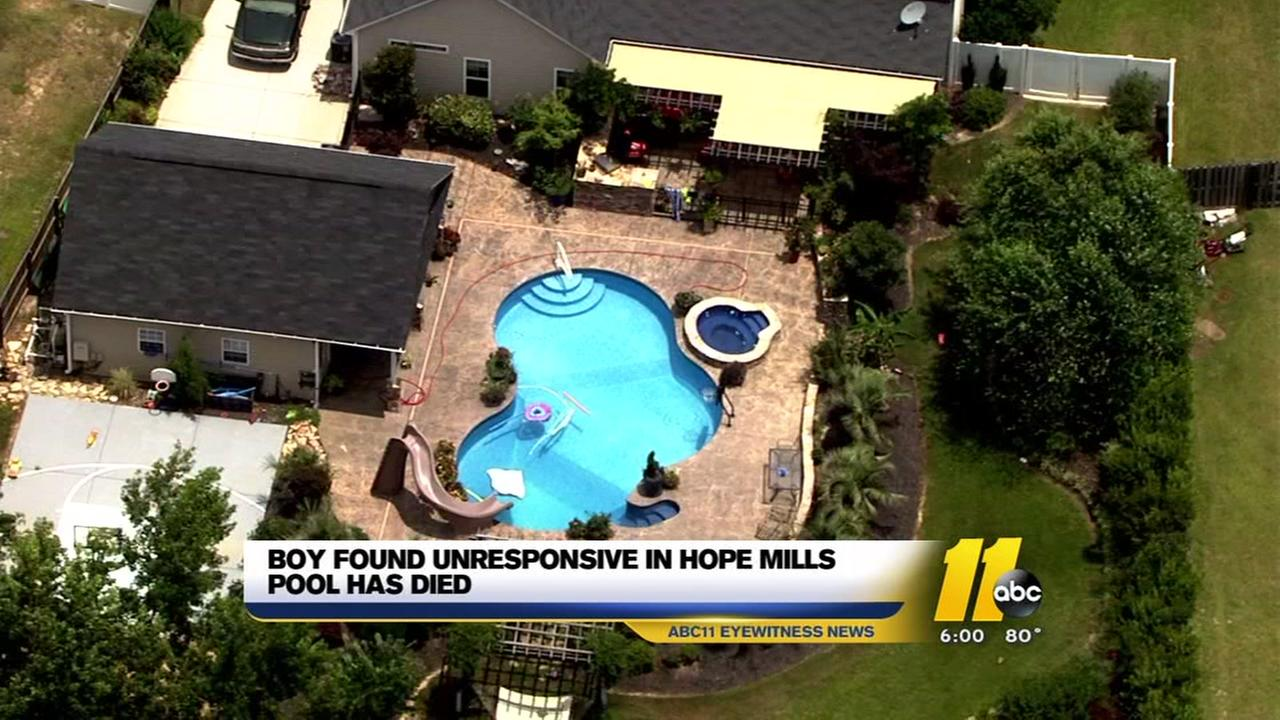 Boy found unresponsive in Hope Mills pool has died