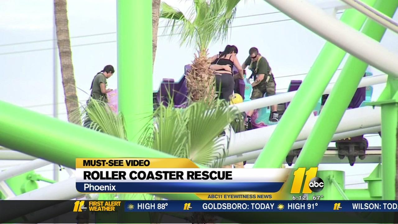 Riders forced to climb down from coaster