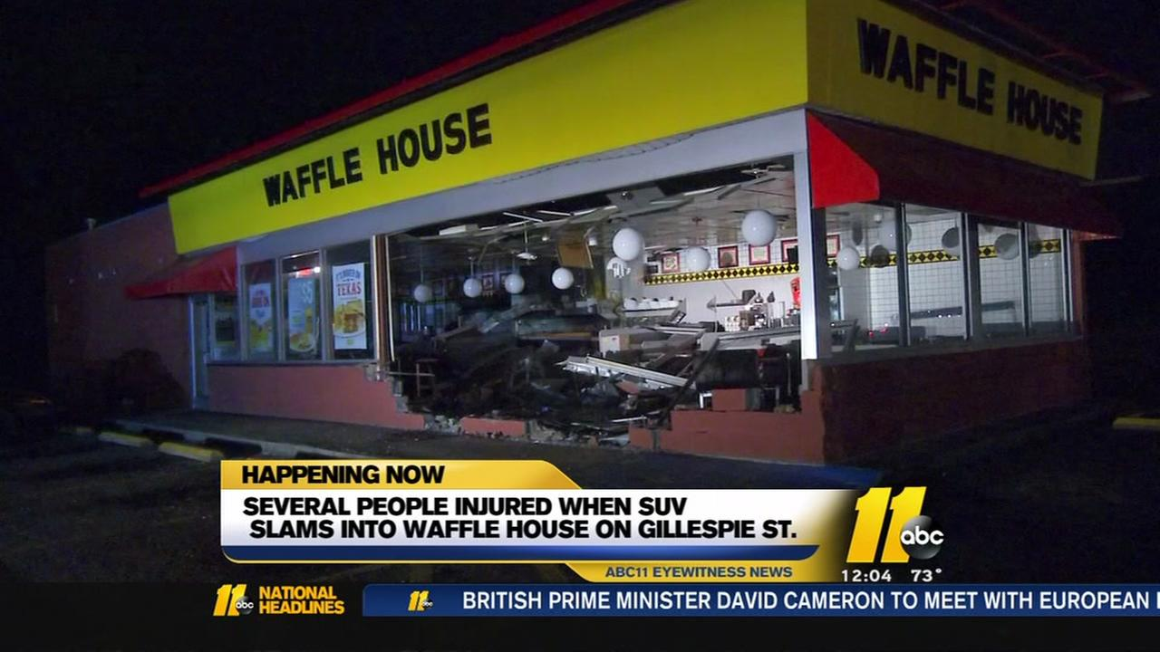 Several people injured when SUV slams into Waffle House