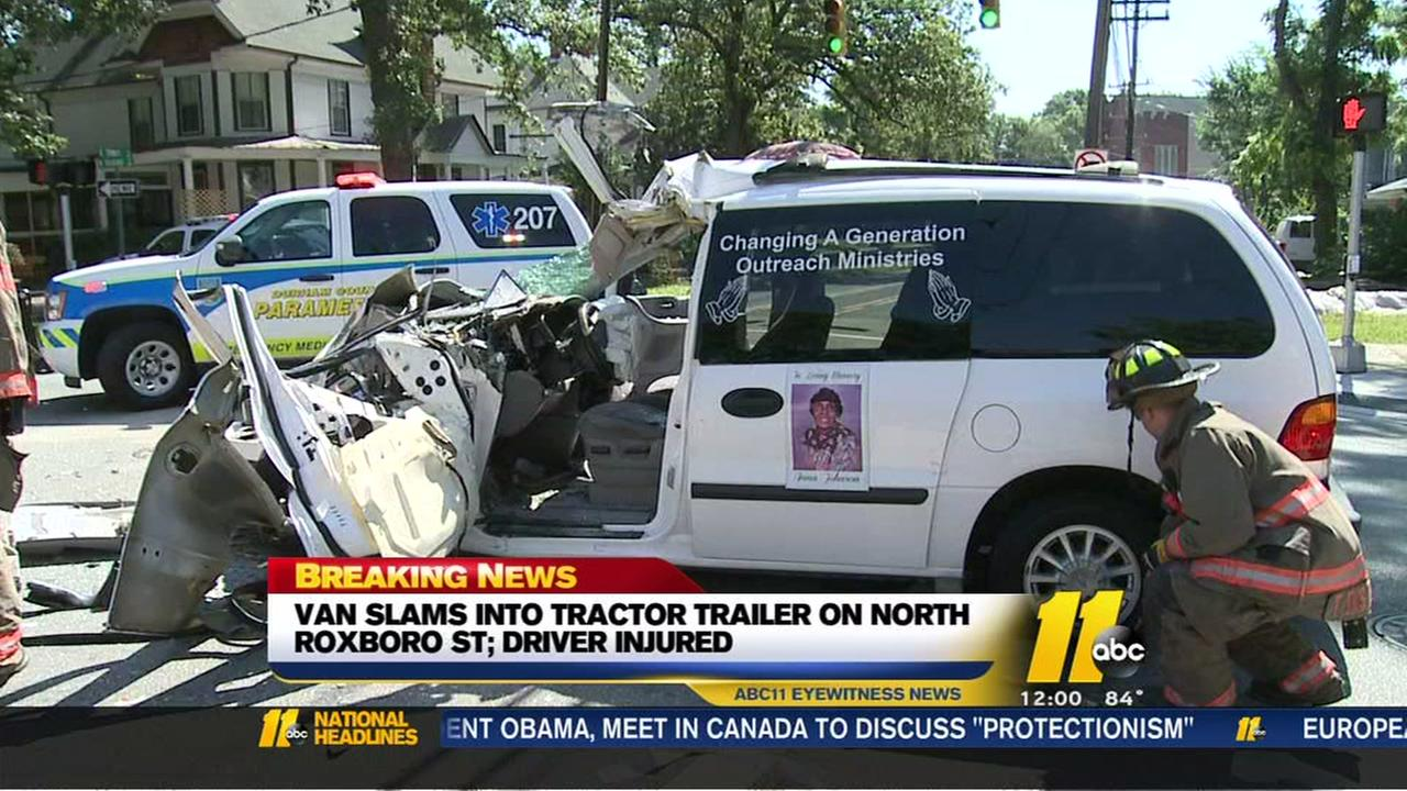 Church van collides with tractor trailer