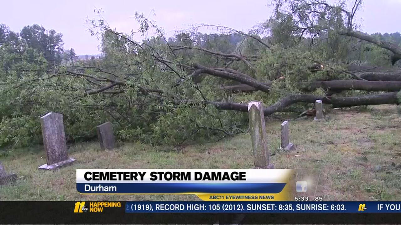 Cemetery storm damage