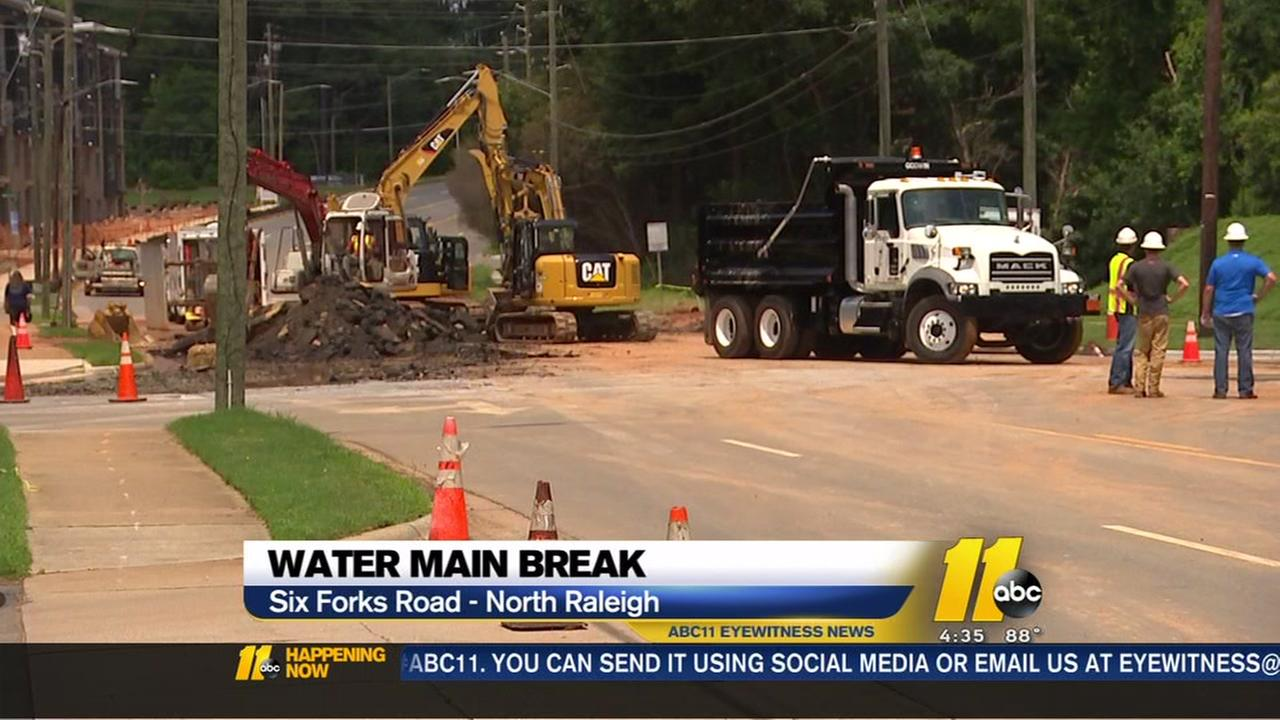 Six Forks Road closed after water main repairs