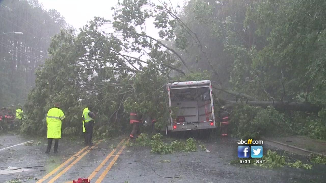Tree falls on truck in Durham