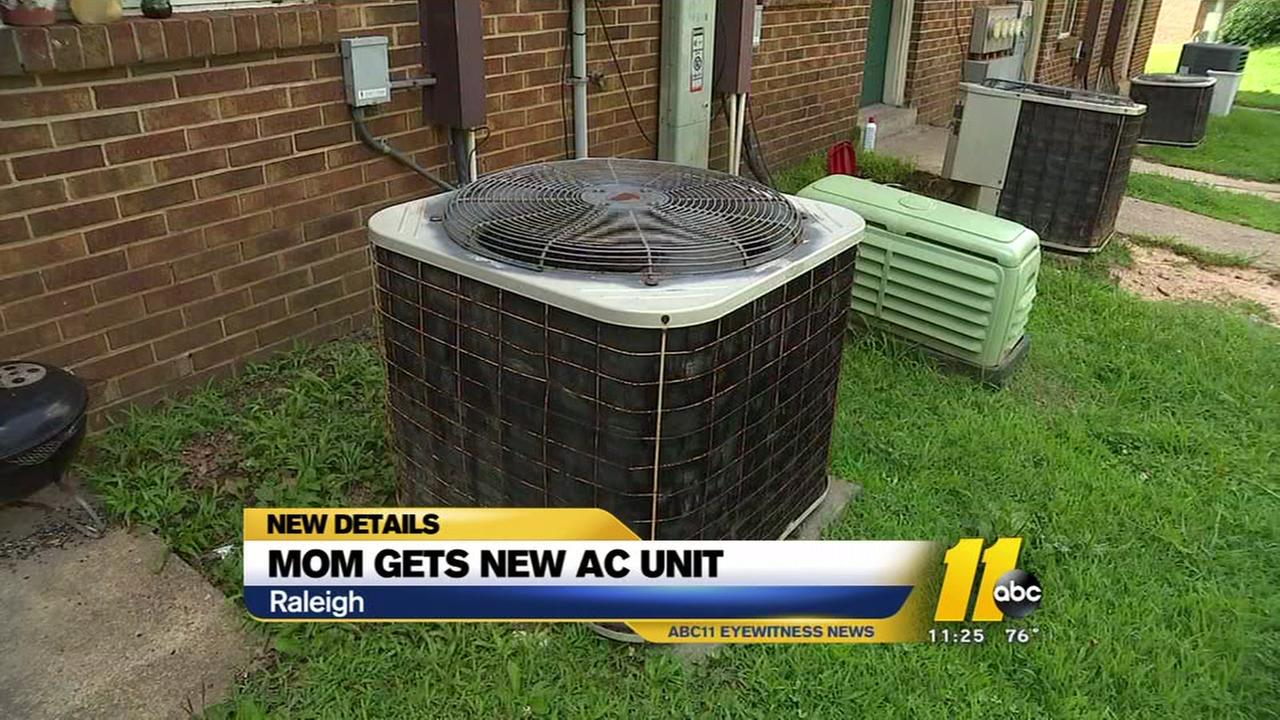 Raleigh mom gets new AC unit