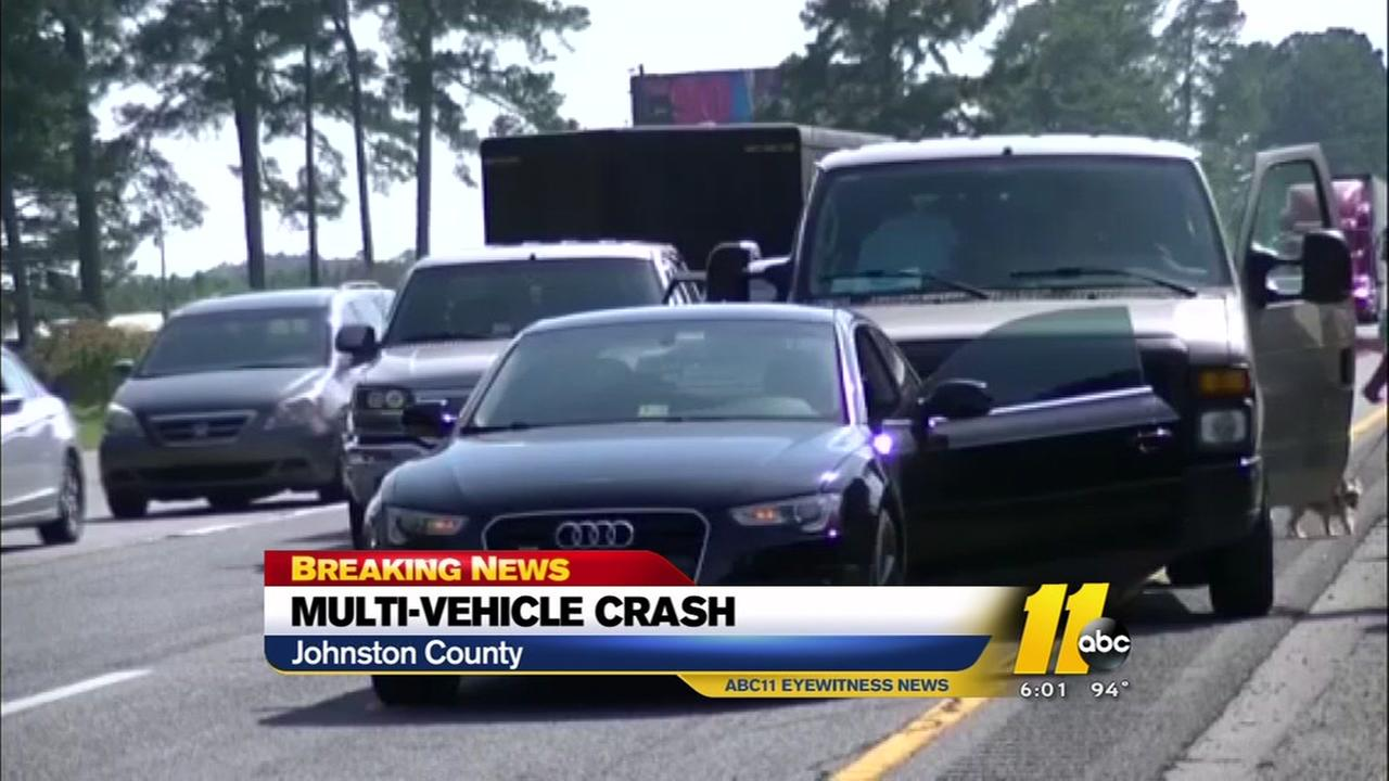 Crash slows traffic in Johnston County