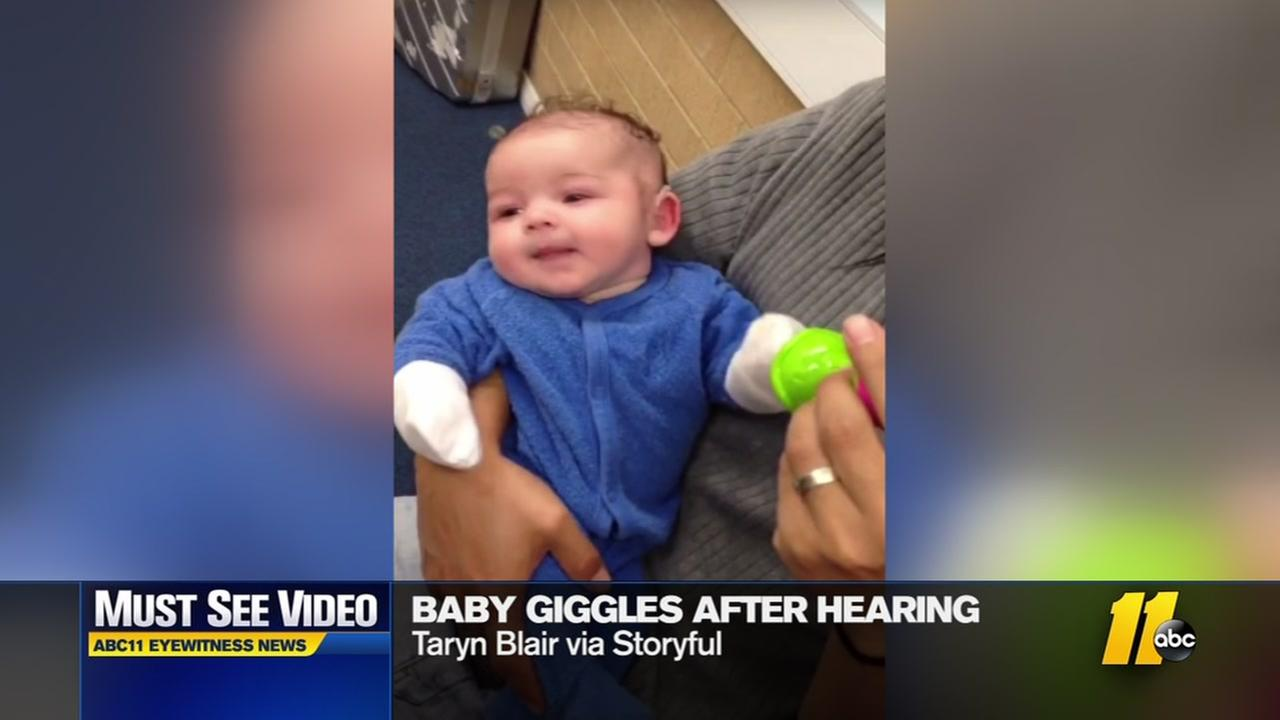 Must-see video: Baby giggles after hearing first time