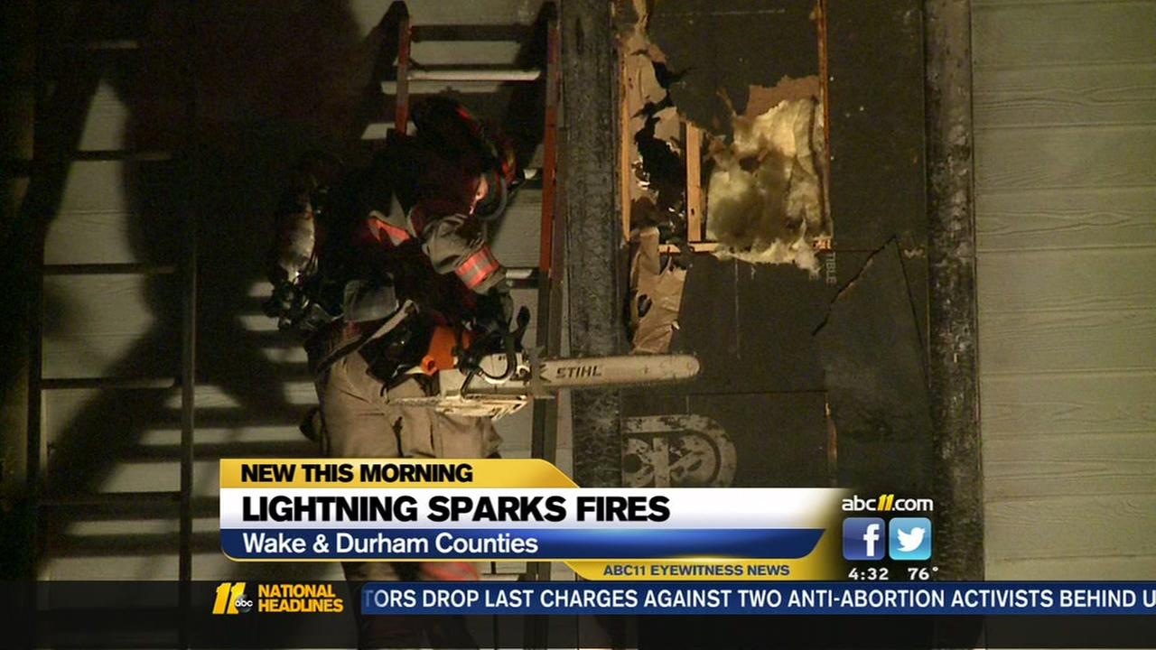 Lightning sparks fires in Wake, Durham counties