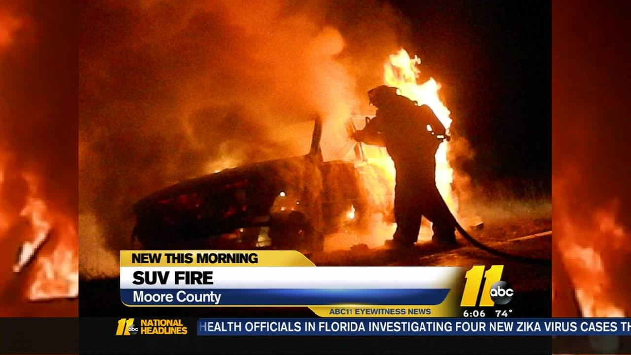 SUV found burning in Moore County