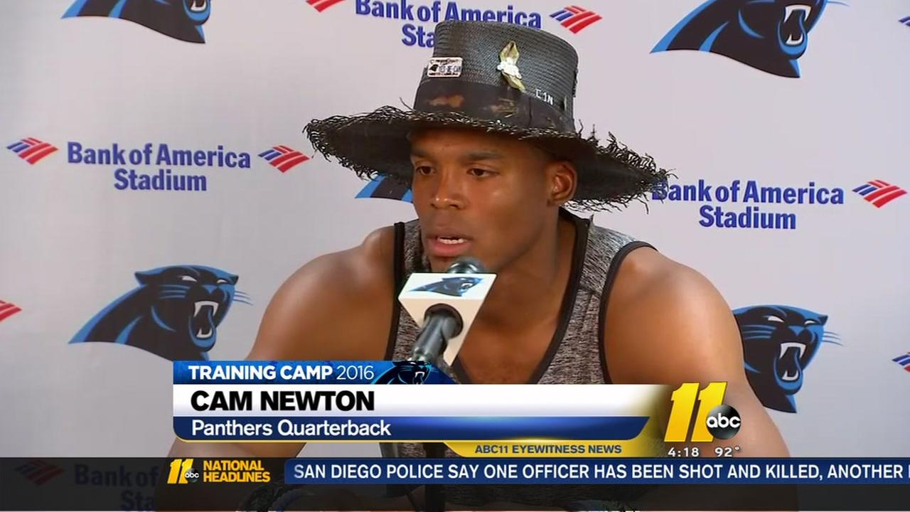 Cam Newton at Panthers camp