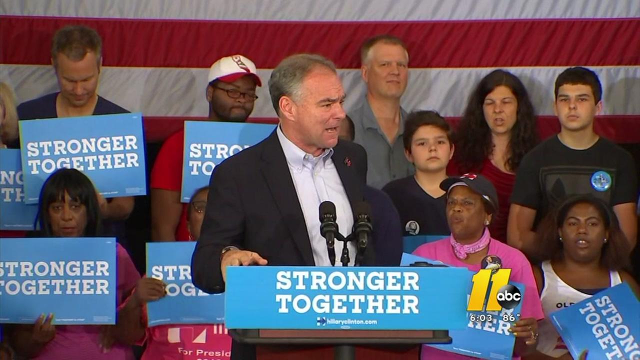 Tim Kaine campaigns in Greensboro