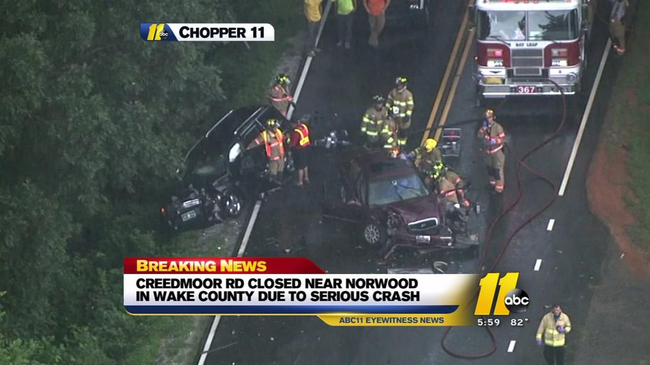 Serious crash closes part of Creedmoor Road