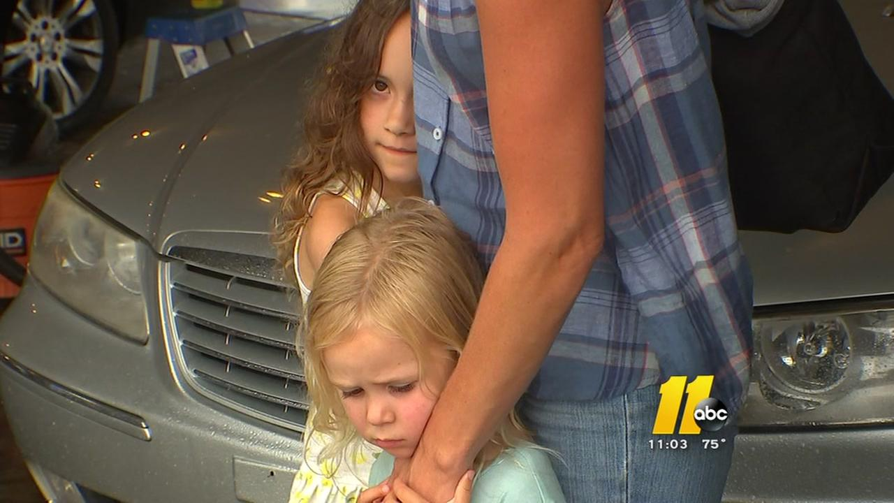 Heavy rain made for some harrowing situations in Raleigh on Monday afternoon.  Anna Kusterers two little girls were shaken by the events.
