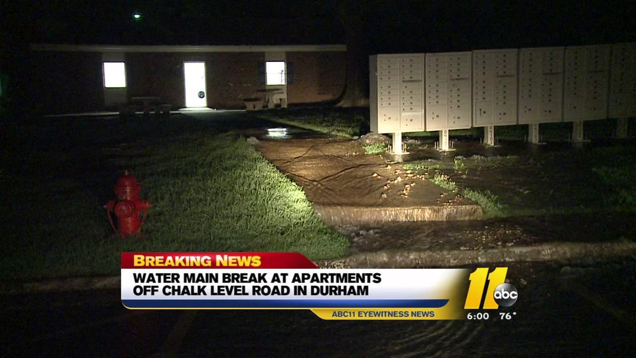 Water main break at Durham apartments