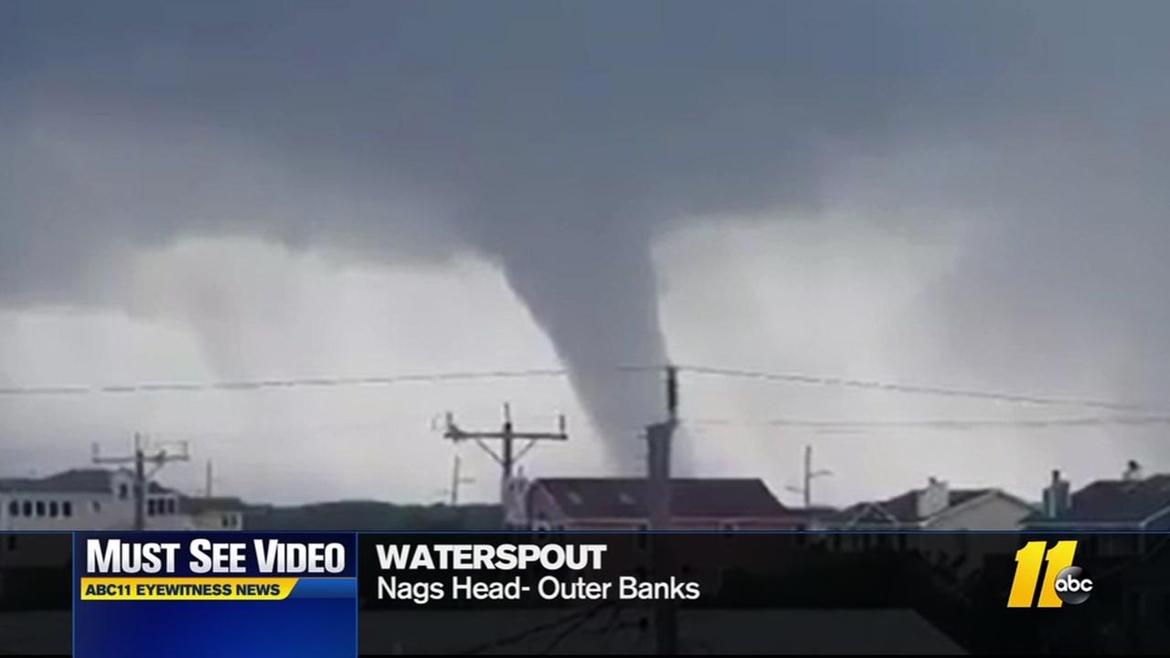 Waterspout churns off Outer Banks