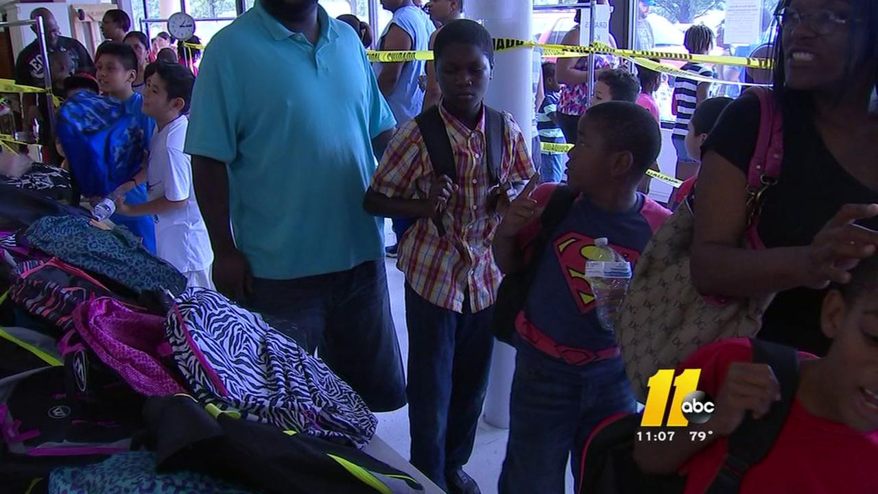 Hundreds of backpacks given away in Raleigh