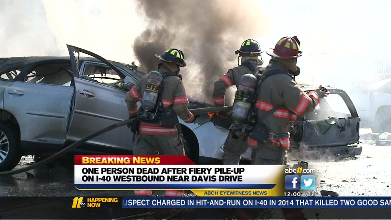 One person dead after fiery pile-up on I-40