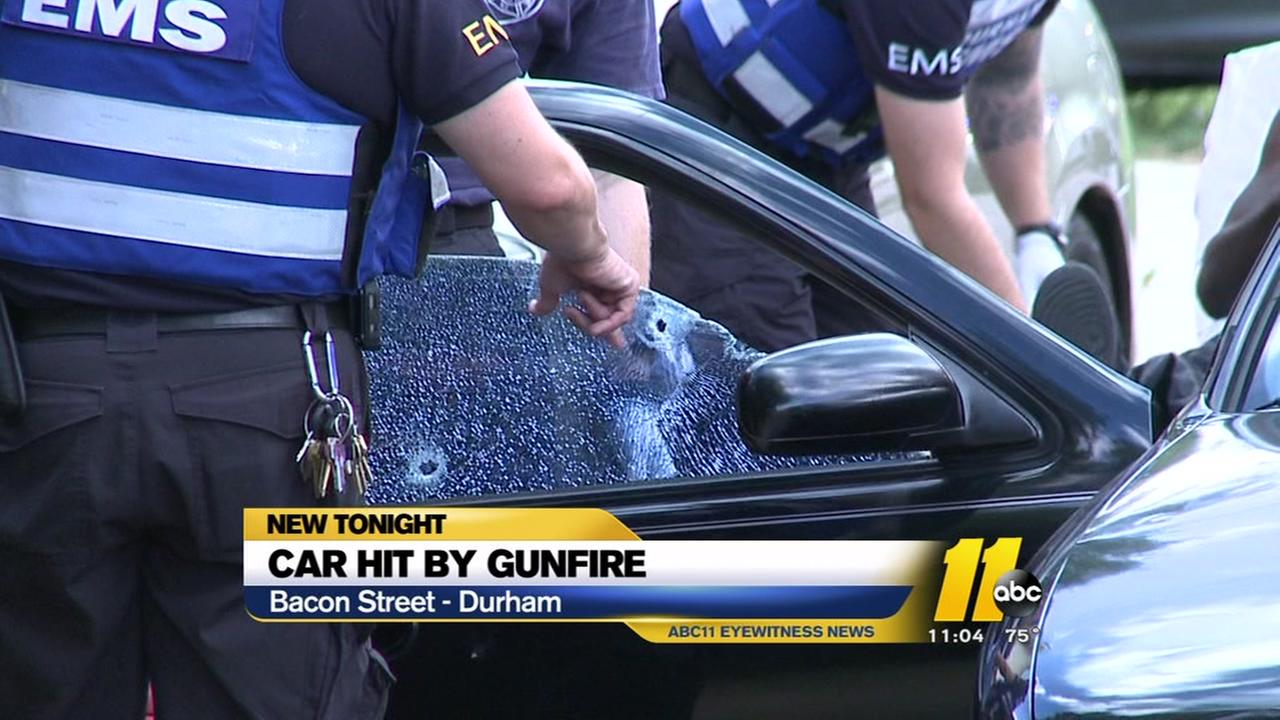Car hit by gunfire in Durham