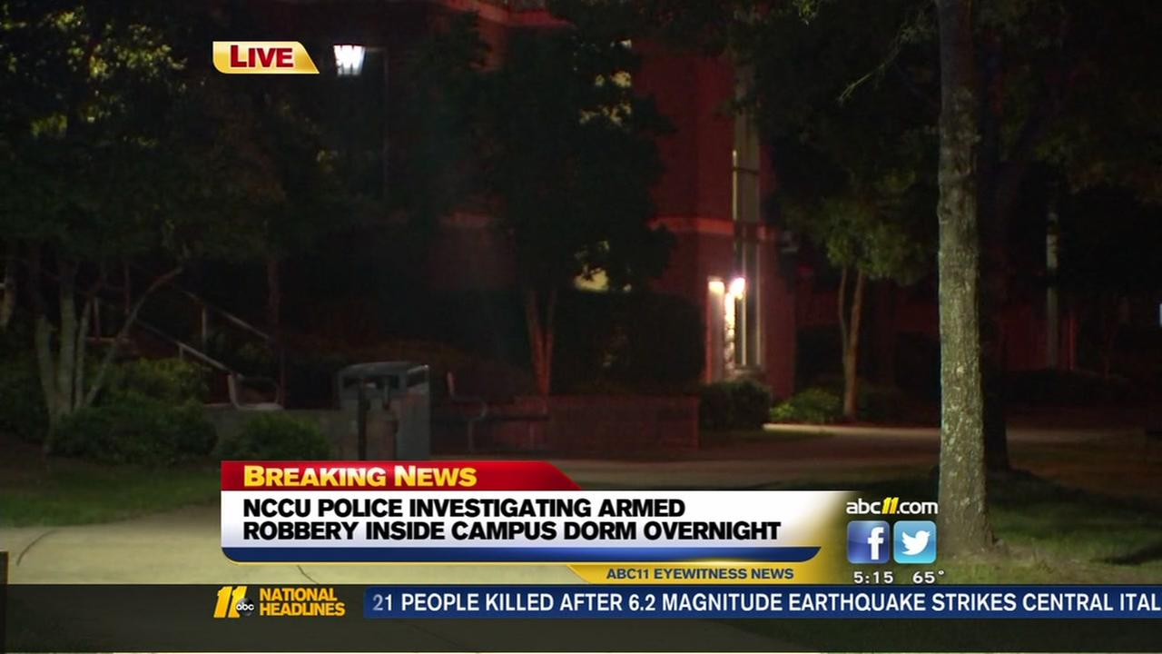 NCCU police investigating armed robbery inside dorm