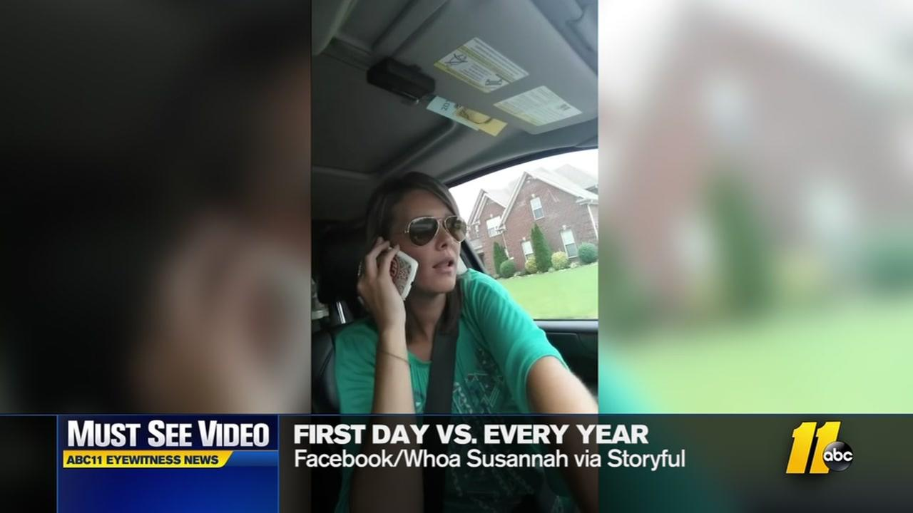 Mom does hilarious parody of parents on first day of school