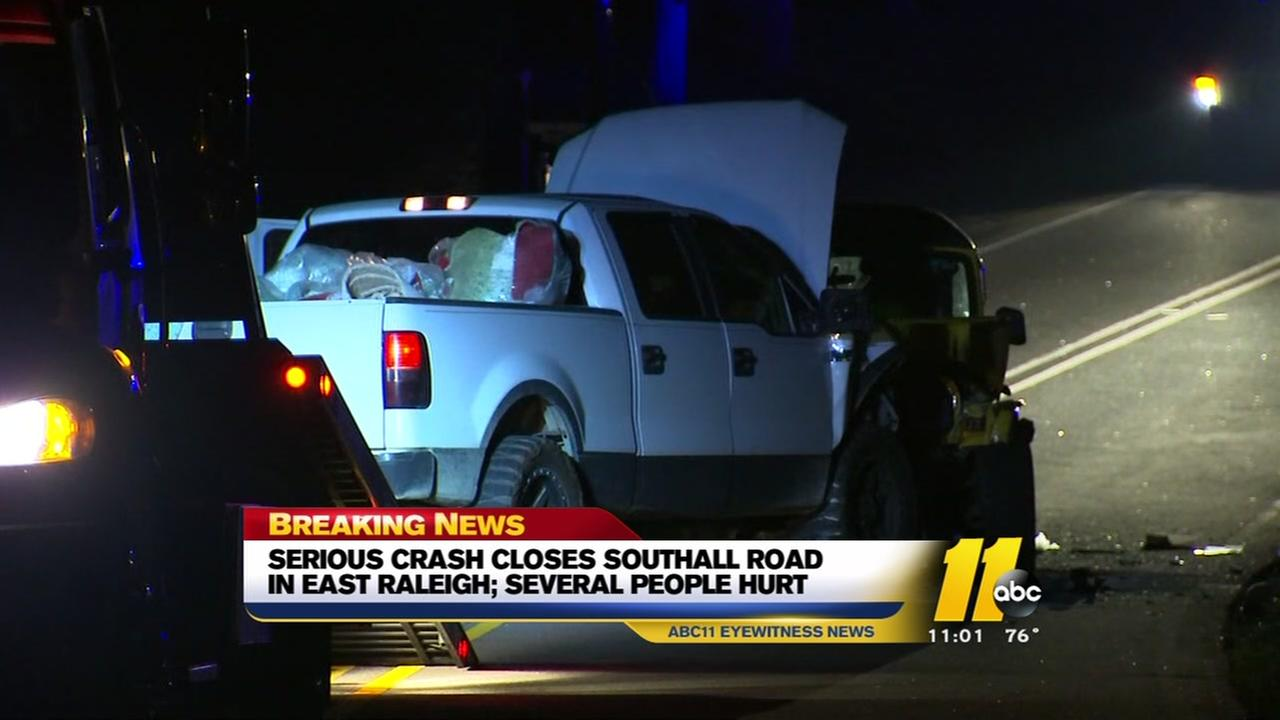 Pickup, Jeep crash in Raleigh