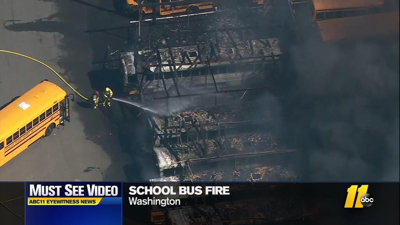 School buses burn