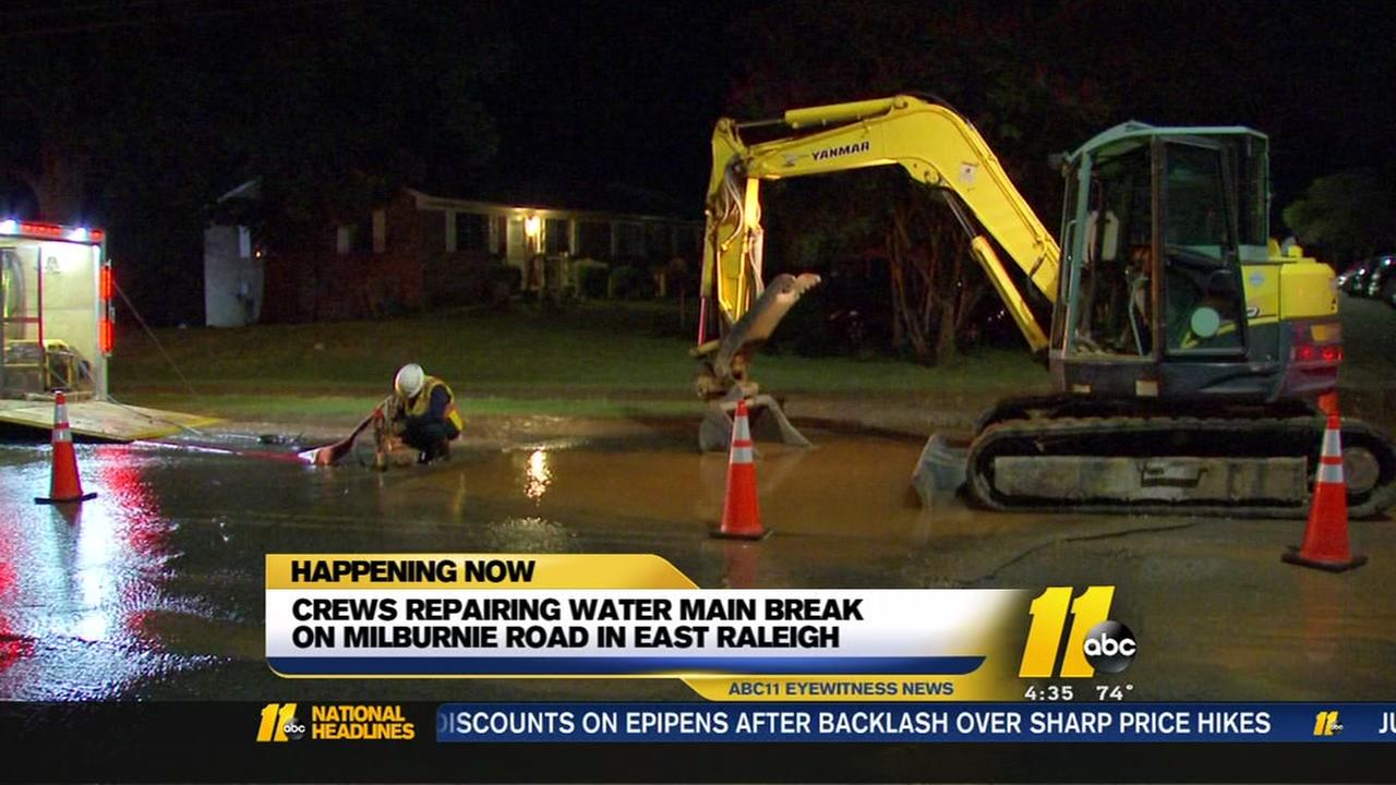 Crews repairing water main break in Raleigh
