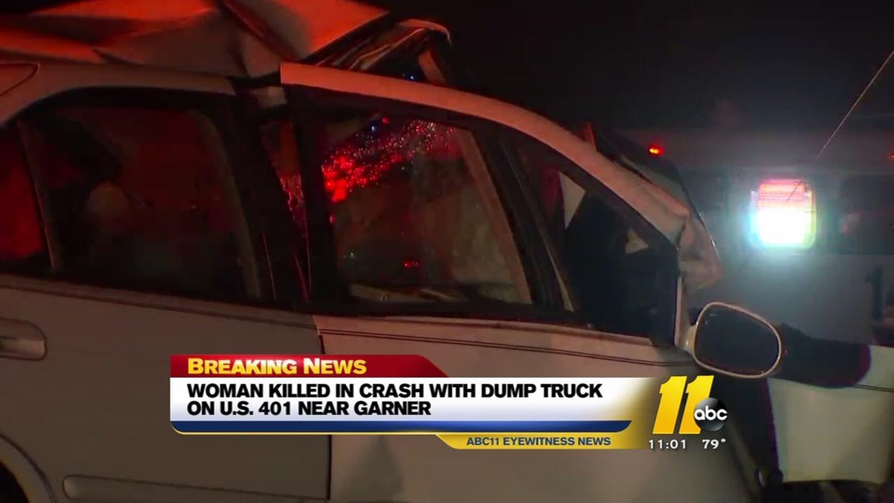 Woman killed in crash with dump truck near Garner